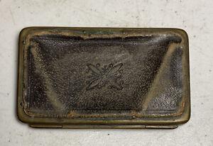 "Vintage Antique Postage Stamp Wallet Case Cowhide Leather 3.25"" X 2"""