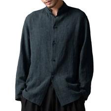 Plus S-5xl Mens Casual Shirts Long Sleeve Bottons Linen Mandarin Retro Tee Tops Blue XL