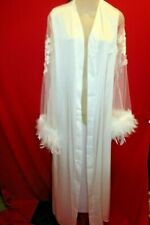 White Wedding Pegnoir Negliee Crochet Lace Net Sleeves Ostrich Feathers Large