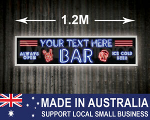 Large Illuminated Custom Neon Style Bar Sign, cave, garage, shed, Personalised