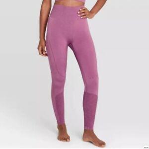 Women's High-Waisted Seamless Mesh 7/8 Leggings - JoyLab Bordeaux Size Large
