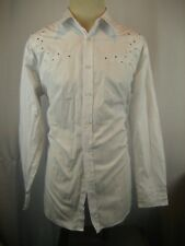 Mens Eddie Domani LS Studded & Embroidered White on White Casual Shirt sz XL
