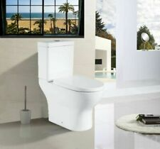 Close Coupled Toilet Round WC Easy Clean Power Semi Flush to wall Soft Closing