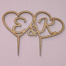 Rustic Wooden Double Heart Cake Topper w your Initials, Wedding, engagment, Love
