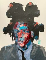 Original Abstract Portrait Jean Michel Basquiat Pop Art Palette Knife Painting