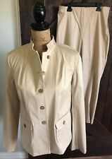 NWT SIGRID OLSEN Warm Sand Signature Stretch Twill Career Jacket Pant Set SZ 8