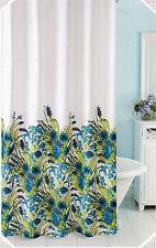 Vera Cotton Blend Shower Curtain Lilies Blue Border Print - NEW