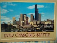 VINTAGE POST CARD AERIAL VIEW EVER CHANGING SEATTLE WASHINGTON