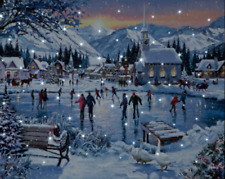 Large Christmas LED Picture Canvas Festive Winter Scene Ice Skaters 40cm x 30cm