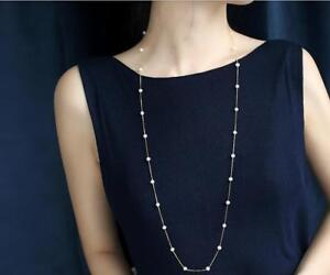 """30""""AAA 5-6MM natural south sea white pearl Necklaces 18k chain(w)"""