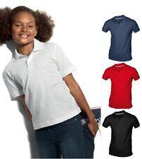 Hanes Fille Garçon Enfant Uni Coton Bio Polo SPORTS École Chemise Non Logo