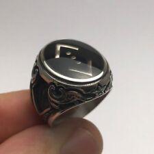 Turkish Jewelry Black Enamel Cukur Motif 925K Sterling Silver Men's Ring