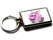 VESPA LX50 Moped Scooter Koolart Chrome Keyring Picture Both Sides