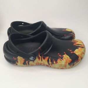 Crocs Bistro Graphic Flames On Fire Clog Slip-resistant Men's Size 7 Women's 9