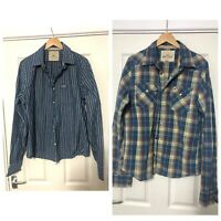 x2 Hollister Mens Shirt Long Sleeve Size XL Stripes Blue Western Style (C685)