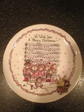 Vintage Gold Trim We Wish You A Merry Christmas Plate Mice Cara Goldberg Marks