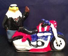 New Cute American Heritage Ceramic Eagle & Motorcycle Salt & Pepper Shaker Set