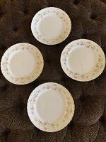 """Pope Gosser FLORENCE 10"""" Dinner Plate Gold Scalloped Edge Pink Roses"""