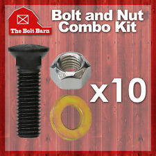 (10) 5/8-11x2 Grade 8 Dome Head Plow Blade Bolts 5/8-11 Hex Lock Nuts & Washers