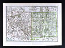 1898 Century Atlas Map - Arizona New Mexico - Santa Fe Taos Pheonix Tuscon Mesa