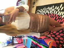 Gold and White Homecoming/Formal Dress Off-the-Shoulder Sparkly Sequins Tight