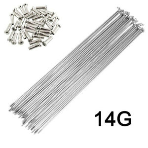 10Pcs 14G Bicycle Spokes With Nipples Stainless Steel MTB Road Bike Spokes