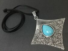 Black long suede statement necklace with A Hammered Silver and turquoise pendant