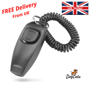 Dog Puppy Clicker and Whistle Training, Black Clickers Whistles for Dogs, Pets