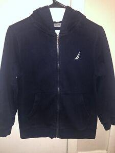 Boys' M (10/12) Nautica navy blue hooded zip-up sweatshirt gently used