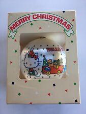 Vintage Sanrio Hello Kitty 1981 Christmas Ornament Satin Ball in Original Box