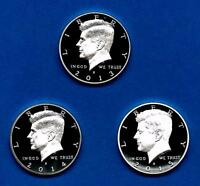 2012 S 2013 S 2014 S Silver Proof Kennedy Half Dollar 3 Coin Lot Set