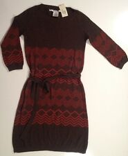 $118 Max Studio XS 70's Style Brown Rust Burnt Orange 3/4 Sleeve Dress Chevron