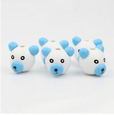 10pcs  White+Blue Wood Beads Wooden 3D Bear Ball Pacifier Clip Jewelry Children