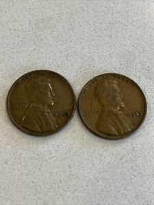 1945 No Mint Mark Wheat Penny lot of 2 Circulated RARE