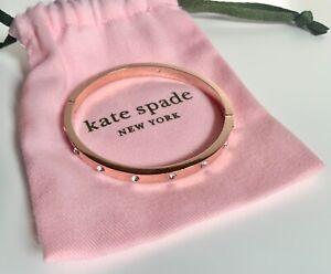 Kate Spade New York Set in Stone Hinged Bangle Bracelet Rose Gold Tone