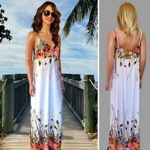 BAD APPLE DRESS SIZE 12 SUMMER MAXI STRAPPY WHITE MIX FLORAL PRINT JERSEY #53