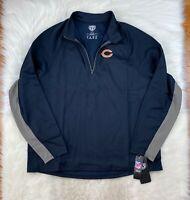 NFL Chicago Bears OTS 1/4 Zip Pullover Poly Fleece Track Jacket Navy Men's 2XL
