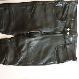 Lederhose Lederjeans Bockle  Stretchleder echtes Leder Bundweite 42cm Bikerhose