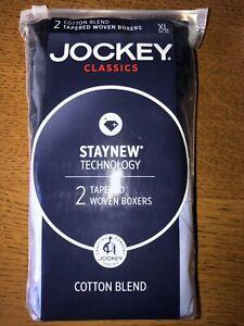 NEW Jockey Men's Underwear Woven Tapered Boxers 2-Pack Blue Navy Men's X-Large