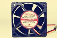 EVERCOOL EC6025H12C 12V 0.20A 2.4W 60*60*25mm 3wire alarm cooling fan #Mz77 QL