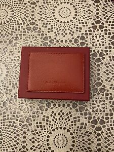 NEW SALVATORE FERRAGAMO  Pebbled  Leather Card Holder Red Box ID $350 Logo