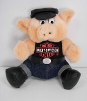 "Harley Davidson Motorcycles 7"" Hawg Hog 1993 Play by Play Plush Pig Biker Toy"