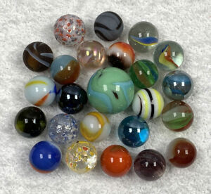 Marbles Lot (24) Cat Eye Confetti Corkscrew Shooter