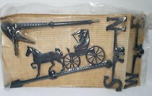 Vintage Weathervane Wind Vane Horse & Buggy Carriage Coachman Black