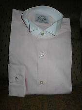Men's TUXEDO DRESS SHIRT WITH Wing Tip Collar PINK & WHITE MORE SIZES ADDED