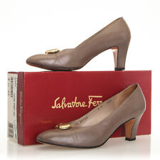 a94e129210c VTG Salvatore Ferragamo Brown Leather Heels with Gold Hardware - Womens 9 B