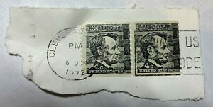 Vintage Lincoln 4 Cents Black Stamp Canceled Pair with Cleveland OH postmark