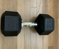 NEW CAP Rubber Hex Dumbbell Single 50 lb Pound Weight IN Fast SHIPPING!