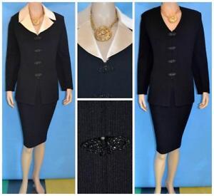 St John Evening Knit Black Jacket Skirt L 10 12 2pc Clasps Rhinestones Collar