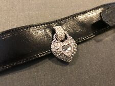NEW Swarovski Leather CUFF BRACELET Crystal HEART Charm